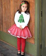Beary Basics Red & White Christmas Tree Tee & Tutu - Infant Toddler & Girls