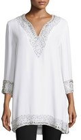 Naeem Khan 3/4-Sleeve Split-Neck Embellished Silk Tunic, White