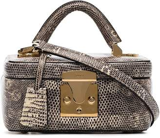 Stalvey taupe lizard skin box bag