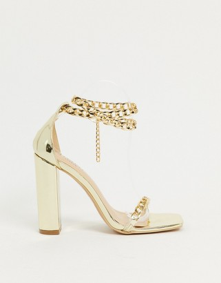 Simmi Shoes Simmi London Arika block-heeled sandals with chain anklet in gold