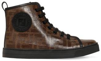 Fendi Logo Print Coated Techno Sneakers