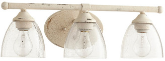 Quorum International Brooks 3-Light Vanity Fixture, Persian White With Clear Seeded Glass