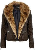 River Island Womens Dark brown leather-look faux fur biker jacket