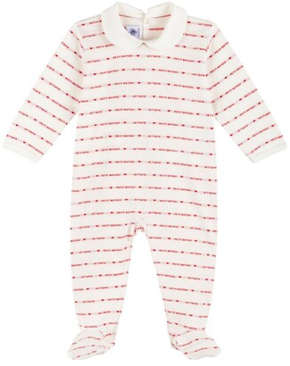 Petit Bateau Cotton Heart Stripe All-In-One (3-24 Months)