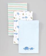 SpaSilk Blue Elephant Burp Cloth Set