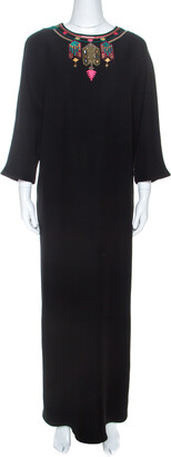 Valentino Black Crepe Embroidered Detail Maxi Dress L