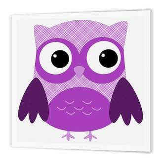 3drose 3dRose Cute Purple Plaid Owl, Iron On Heat Transfer, 10 by 10-inch, For White Material