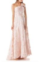 Carmen Marc Valvo Floral One-Shoulder Ballgown