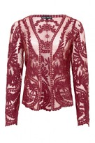 Select Fashion Fashion Womens Red Crochet Lace Cardigan - size L