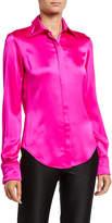 Brandon Maxwell Silk Frayed Button-Front Shirt
