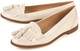 KACY Off White Fringed Loafers