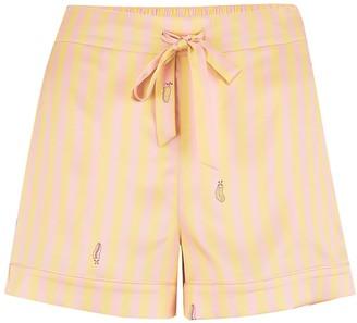 Sleepy Wilson Rosie Silk Shorts In Lemonade Stripe