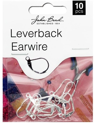 John Bead Corporation John Bead MHF Earwire Leverback 19mm Slv 10pc - White - Medium