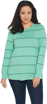 Denim & Co. Active Striped French Terry Top with Rib Trim
