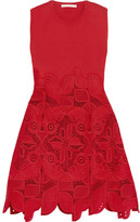 Antonio Berardi Knitted And Guipure Lace Dress - Crimson