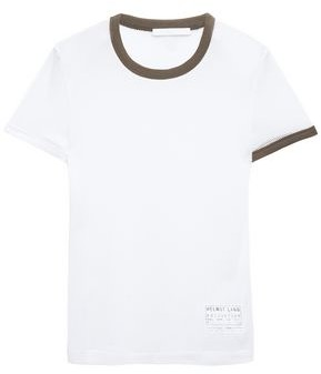 Helmut Lang Appliqued Two-tone Mesh T-shirt