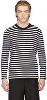 MAISON KITSUNÉ Black and White Long Sleeve Striped Tricolor Fox T-Shirt