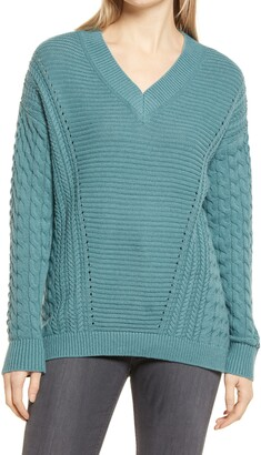 Caslon Cable V-Neck Sweater