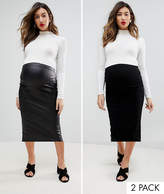 Asos Over The Bump Longer Line Midi Skirt and Leather Look Skirt 2 Pack
