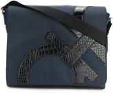 Salvatore Ferragamo embossed Gancio messenger bag - men - Calf Leather/Polyester - One Size