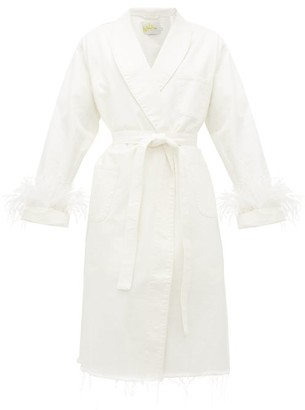 Marques Almeida Feather-cuff Denim Dressing Gown Coat - White
