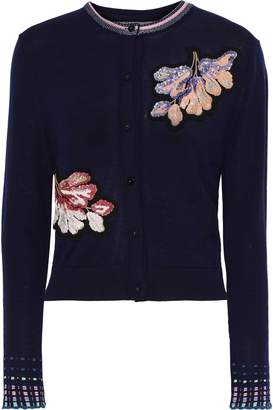 Peter Pilotto Floral-appliqued Wool Cardigan