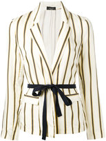 Roberto Collina striped belted blazer - women - Cotton/Viscose - L