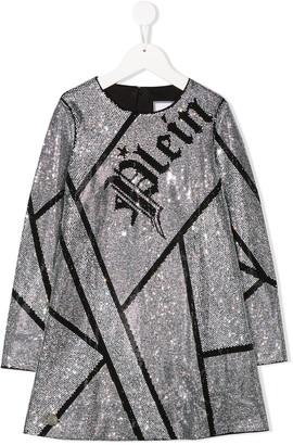 Philipp Plein Junior Long Sleeve Embellished Dress