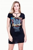 Select Fashion Fashion Womens Black T-Bar Choker Rock Tee Dress - size 6