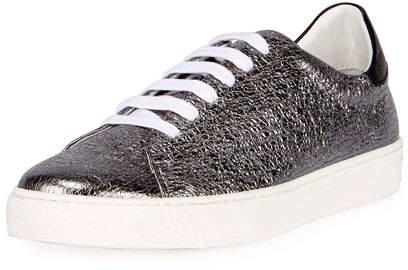 Anya Hindmarch Crinkled Metallic Leather Tennis Sneaker, Black
