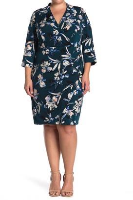 Eliza J V-Neck Floral Printed Sheath Dress (Plus Size)