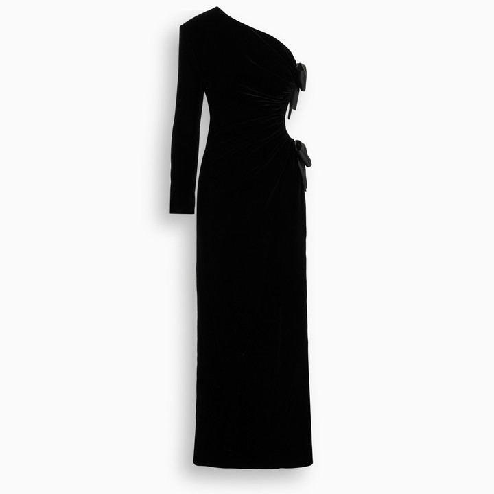 Saint Laurent One-sleeved velvet gown with bow