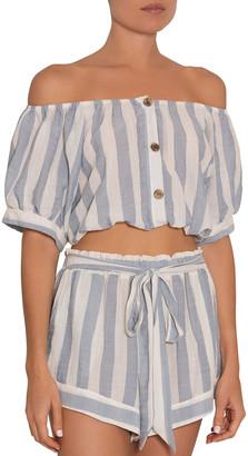 Eberjey Harper Umbrella Stripe Off-Shoulder Coverup Top