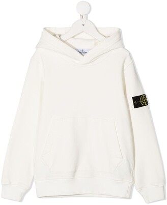 Stone Island Junior Logo Patch Long-Sleeved Hoodie