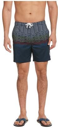 Original Penguin Wave Print Swim Shorts (Dark Sapphire) Men's Swimwear