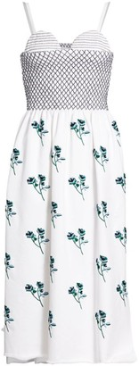 Marina Moscone Floral Smocked Bustier Dress