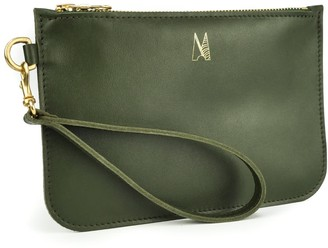 Village Leathers Soft Leather Clutch Bag - Olive Green
