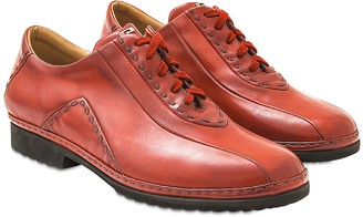 Pakerson Red Italian Hand Made Calf Leather Lace-up Shoes