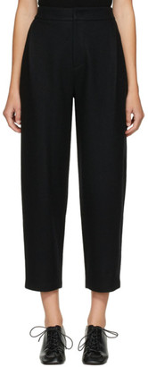 AMOMENTO Black Felted Wool Curved Trousers