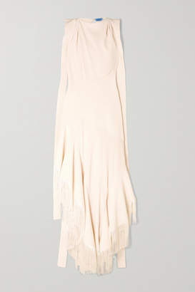 Thierry Mugler Asymmetric Fringed Paneled Twill And Crepe Gown - Ivory
