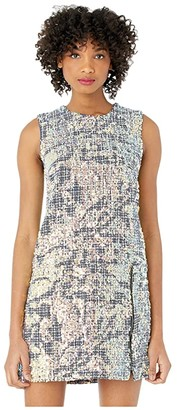 Nicole Miller Sequin Tweed Shift Dress (Pink Multi) Women's Clothing