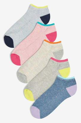 Next Womens Brights Cushion Sole Trainer Socks Five Pack - Grey