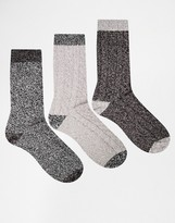 Asos Boot Socks 3 Pack In Gray With Contrast Heel And Toe