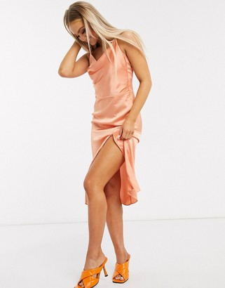 In The Style x Meggan Grubb satin strappy back midi cami dress in coral