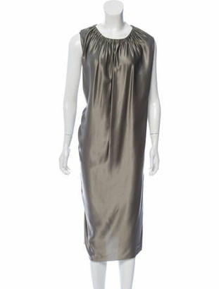 Lanvin Silk Midi Dress Grey