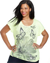 Style&Co. Plus Size Short-Sleeve Butterfly-Print Top
