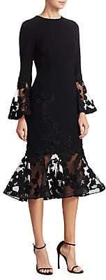 Teri Jon by Rickie Freeman Women's Illusion Bell-Sleeve Bodycon Dress