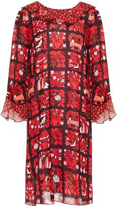 Anna Sui Ruffled Printed Georgette Mini Dress