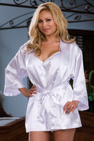 "Yours Clothing DREAMGIRL White Satin Charmeuse ""Bride"" Robe Set with Babydoll"