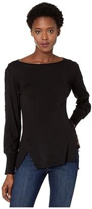 Nic+Zoe Flash Of Lace Sweater (Black Onyx) Women's Sweater